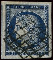 EMISSION DE 1849 - 4a   25c. Bleu Foncé, Marges énormes, Filet De Voisin à Gauche, Obl. GRILLE, Superbe - 1849-1850 Cérès