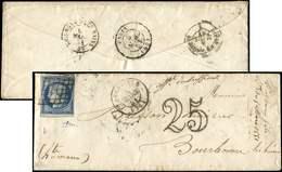 """Let EMISSION DE 1849 - 4    25c. Bleu, Obl. GRILLE S. Env., Càd T15 ABBEVILLE 4/3/51, """"affrt Insuff."""" Et Taxe 25 DT, TB - 1849-1850 Cérès"""