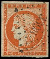 EMISSION DE 1849 - 5    40c. Orange, Oblitéré PC 3398, Frais Et TB - 1849-1850 Cérès
