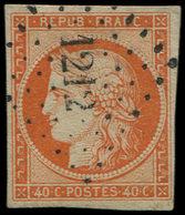 EMISSION DE 1849 - 5    40c. Orange, Obl. PC 1212, Frappes TTB - 1849-1850 Ceres