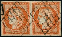 EMISSION DE 1849 - 5    40c. Orange, PAIRE Obl. GRILLE, TB. Br - 1849-1850 Cérès
