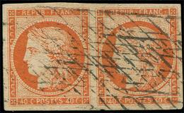 EMISSION DE 1849 - 5    40c. Orange, PAIRE Oblitérée GRILLE SANS FIN, Belles Marges, TB. C - 1849-1850 Cérès