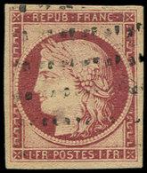 EMISSION DE 1849 - 6     1f. Carmin, Belles Marges, Obl. ROULETTE De POINTS, Frappe Légère, TTB. Br - 1849-1850 Cérès