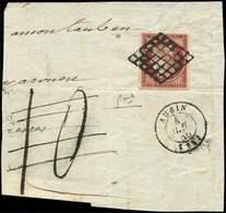 EMISSION DE 1849 - 6b    1f. Carmin, Obl. GRILLE S. Fragt, Càd AUBIN, TB - 1849-1850 Cérès