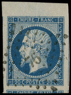 EMPIRE NON DENTELE - 14A  20c. Bleu, T I, Grandes Marges, Bdf Et Voisin En Bas, Obl. PC 76, Superbe - 1853-1860 Napoleon III