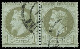 """EMPIRE LAURE - 25b   1c. Bronze, PAIRE Obl. Càd, Un Ex. Variété """"A LA CIGARETTE"""" Tenant à Normal, TB - 1863-1870 Napoléon III Lauré"""