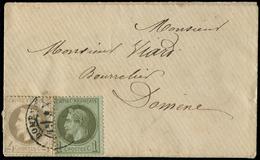 Let EMPIRE LAURE - 25 Et 27B, 1c. Et 4c. Obl. Càd DOMENE S. Env. Locale, TB - 1863-1870 Napoléon III Lauré