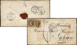 Let EMPIRE LAURE - 28A Et 30, 10c. Et 30c. Obl. GC 2240 S. Env. TAXEE, Càd T17 Marseille 10/12/68, Arr. SOLOTHURN (Suiss - 1863-1870 Napoléon III Lauré