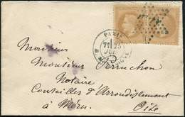 Let EMPIRE LAURE - 28B  10c. Bistre, T II, 2 Ex. Obl. Etoile Et Càd R. Montaigne 25/7/_ S. Petite Env., Le Tout En BLEU, - 1863-1870 Napoléon III Lauré