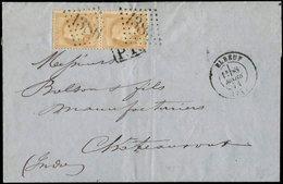 Let EMPIRE LAURE - 28B  10c. Bistre, T II, PAIRE Obl. GC 1386 S. LAC, Càd T17 ELBEUF 8/3/71 Et PP Sous Les Timbres, TB - 1863-1870 Napoléon III Lauré