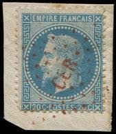 EMPIRE LAURE - 29B  20c. Bleu, T II, Défx, Obl. Los. ROUGE CER Sur Fragt, Frappe TB - 1863-1870 Napoléon III Lauré