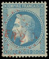 EMPIRE LAURE - 29B  20c. Bleu, T II, Obl. Los. ROUGE CER 2, TTB - 1863-1870 Napoléon III Lauré