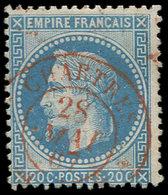 EMPIRE LAURE - 29B  20c. Bleu, T II, Obl. Càd T15 CHARTRES 28/5/67 En Rouge, Frappe TTB - 1863-1870 Napoléon III Lauré