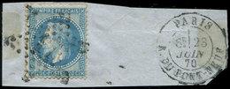 """EMPIRE LAURE - 29Bb 20c. Bleu, T II, """"A LA CORNE"""", Obl. Etoile S. Fragt, Càd PARIS 23/6/70, TB - 1863-1870 Napoléon III Lauré"""