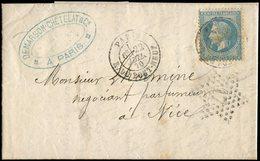 Let EMPIRE LAURE - 29B  20c. Bleu, T II, Obl. Càd R. Du Pont Neuf 22/7/70 S. LAC, Càd Répété à Côté Avec L'ETOILE 17, In - 1863-1870 Napoléon III Lauré