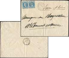 Let EMPIRE LAURE - 29B  20c. Bleu, T II, PAIRE Obl. AS.NA S. Env., Càd VERSAILLES ASSEMBLEE NATle 29/4/71, Arr. ST BONNE - 1863-1870 Napoléon III Lauré