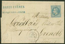 """Let EMPIRE LAURE - 29Bb 20c. Bleu, T II, """"A LA CORNE"""", Pli D'archive, Obl. GC 1304 S. LAC, Càd T17 DIGNE 30/5/71, TB - 1863-1870 Napoléon III Lauré"""