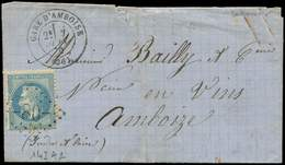 """Let EMPIRE LAURE - 29Bd 20c. Bleu, T II, """"A LA PIPE"""", N°143A2, Obl. GC 80 S. LAC, Càd GARE D'AMBOISE 7/6/70, TB - 1863-1870 Napoléon III Lauré"""