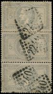 EMPIRE LAURE - 33    5f. Gris Violet, BANDE De 3 Obl. GC 2240, 2 Dents Un Peu Justes, Sinon TB. C - 1863-1870 Napoléon III Lauré