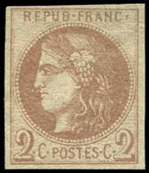 * EMISSION DE BORDEAUX - 40A   2c. Chocolat Clair, R I, TB. C - 1870 Ausgabe Bordeaux