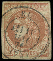 EMISSION DE BORDEAUX - 40B   2c. Brun-rouge Clair, R II, Obl. Càd T17 EU 5/71/(74), TTB - 1870 Emission De Bordeaux