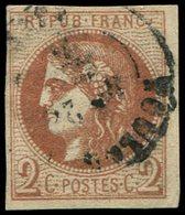 EMISSION DE BORDEAUX - 40B   2c. Brun-rouge, R II, Oblitéré Càd, TB - 1870 Bordeaux Printing