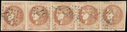 EMISSION DE BORDEAUX - 40B   2c. Brun-rouge, R II, BANDE De 5 Obl. GC 3367, Pos. 11 à 15, TTB - 1870 Emission De Bordeaux