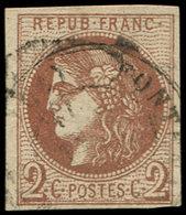 EMISSION DE BORDEAUX - 40Bb  2c. MARRON, R II, Obl., TB - 1870 Uitgave Van Bordeaux