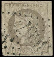 EMISSION DE BORDEAUX - 41B   4c. Gris, R II, Grandes Marges, Obl. GC 3667, TTB/Superbe - 1870 Bordeaux Printing