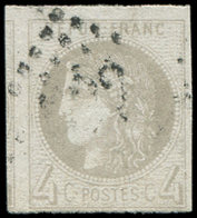 EMISSION DE BORDEAUX - 41B   4c. Gris, R II, Voisin à Gauche, Obl. GC, TB/TTB - 1870 Ausgabe Bordeaux