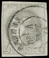 EMISSION DE BORDEAUX - 41B   4c. Gris, R II, Oblitéré Càd, TB - 1870 Bordeaux Printing