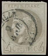 EMISSION DE BORDEAUX - 41B   4c. Gris, R II, Obl. Càd MARSEILLE, TB - 1870 Uitgave Van Bordeaux