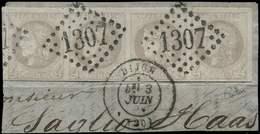 EMISSION DE BORDEAUX - 41B   4c. Gris, R II, BANDE De 4 Obl. GC 1307 Sur Fragt, Càd T17 DIJON 3/6/71, TB. C - 1870 Bordeaux Printing