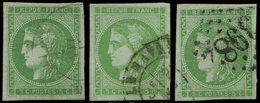 EMISSION DE BORDEAUX - 42B   5c. Vert-jaune, R II, 3 Ex. Obl. Càd T17 (2) Et GC 3982, TB - 1870 Bordeaux Printing