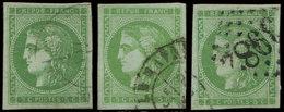 EMISSION DE BORDEAUX - 42B   5c. Vert-jaune, R II, 3 Ex. Obl. Càd T17 (2) Et GC 3982, TB - 1870 Emission De Bordeaux