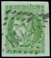 EMISSION DE BORDEAUX - 42B   5c. Vert-jaune, R II, Obl. GC 2763, Marges énormes, Superbe - 1870 Uitgave Van Bordeaux