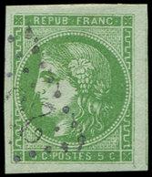 EMISSION DE BORDEAUX - 42B   5c. Vert-jaune, R II, Obl. GC, Grandes Marges, Filet De Voisin à Droite, TTB/Superbe - 1870 Emission De Bordeaux