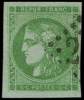 EMISSION DE BORDEAUX - 42B   5c. Vert-jaune, R II, Obl. GC 2(  ), Effigie Dégagée, TTB - 1870 Bordeaux Printing