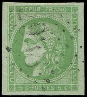 EMISSION DE BORDEAUX - 42B   5c. Vert-jaune, R II, Obl. GC Léger, TB/TTB - 1870 Bordeaux Printing