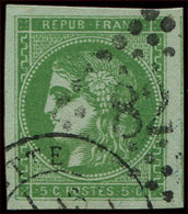 EMISSION DE BORDEAUX - 42Ba  5c. Vert-jaune Foncé, R II, Grandes Marges, Obl. GC Et Càd T17, TTB/Superbe - 1870 Uitgave Van Bordeaux