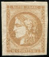 * EMISSION DE BORDEAUX - 43Aa 10c. Brun Clair R I, Très Belles Marges, TB - 1870 Bordeaux Printing