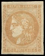 * EMISSION DE BORDEAUX - 43B  10c. Bistre-jaune, R II, TB. J - 1870 Emission De Bordeaux