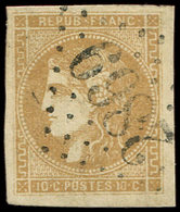 EMISSION DE BORDEAUX - 43A  10c. Bistre, R I, Obl. GC 2869, Frappe Superbe - 1870 Bordeaux Printing