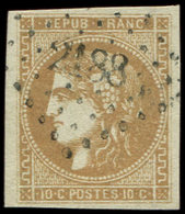 EMISSION DE BORDEAUX - 43A  10c. Bistre, R I, Obl. PC Du GC 2188, TB - 1870 Emission De Bordeaux