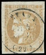 EMISSION DE BORDEAUX - 43A  10c. Bistre, R I, Obl. Càd T16 EVAUX, TB. C - 1870 Ausgabe Bordeaux