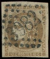 EMISSION DE BORDEAUX - 43b  10c. Bistre VERDATRE FONCE, R I, Superbe Nuance, Obl. GC 3982, Filet Intact En Bas, 3 Très B - 1870 Uitgave Van Bordeaux