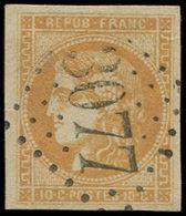 EMISSION DE BORDEAUX - 43B  10c. Bistre-jaune, R II, Obl. GC 3077, Frappe Superbe, TTB - 1870 Bordeaux Printing