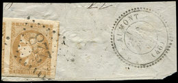 EMISSION DE BORDEAUX - 43B  10c. Bistre-jaune, R II, Grandes Marges, 2 Voisins Obl. GC 228 S. Fragt, Càd T24 AUMONT 8/2/ - 1870 Ausgabe Bordeaux