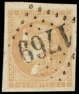 EMISSION DE BORDEAUX - 43B  10c. Bistre-jaune, R II, Obl. GC 1769, Frappe Superbe, TTB - 1870 Emission De Bordeaux