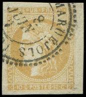 EMISSION DE BORDEAUX - 43B  10c. Bistre-jaune, R II, Obl. Càd T24, Petit Bdf, TTB - 1870 Emission De Bordeaux